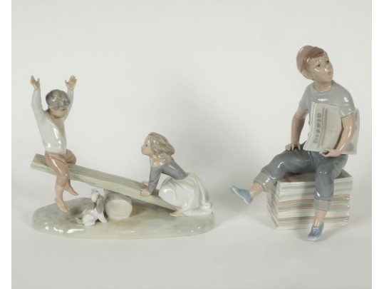 Two nao by lladro figurines see saw and newspaper boy for Brownstone liquidators