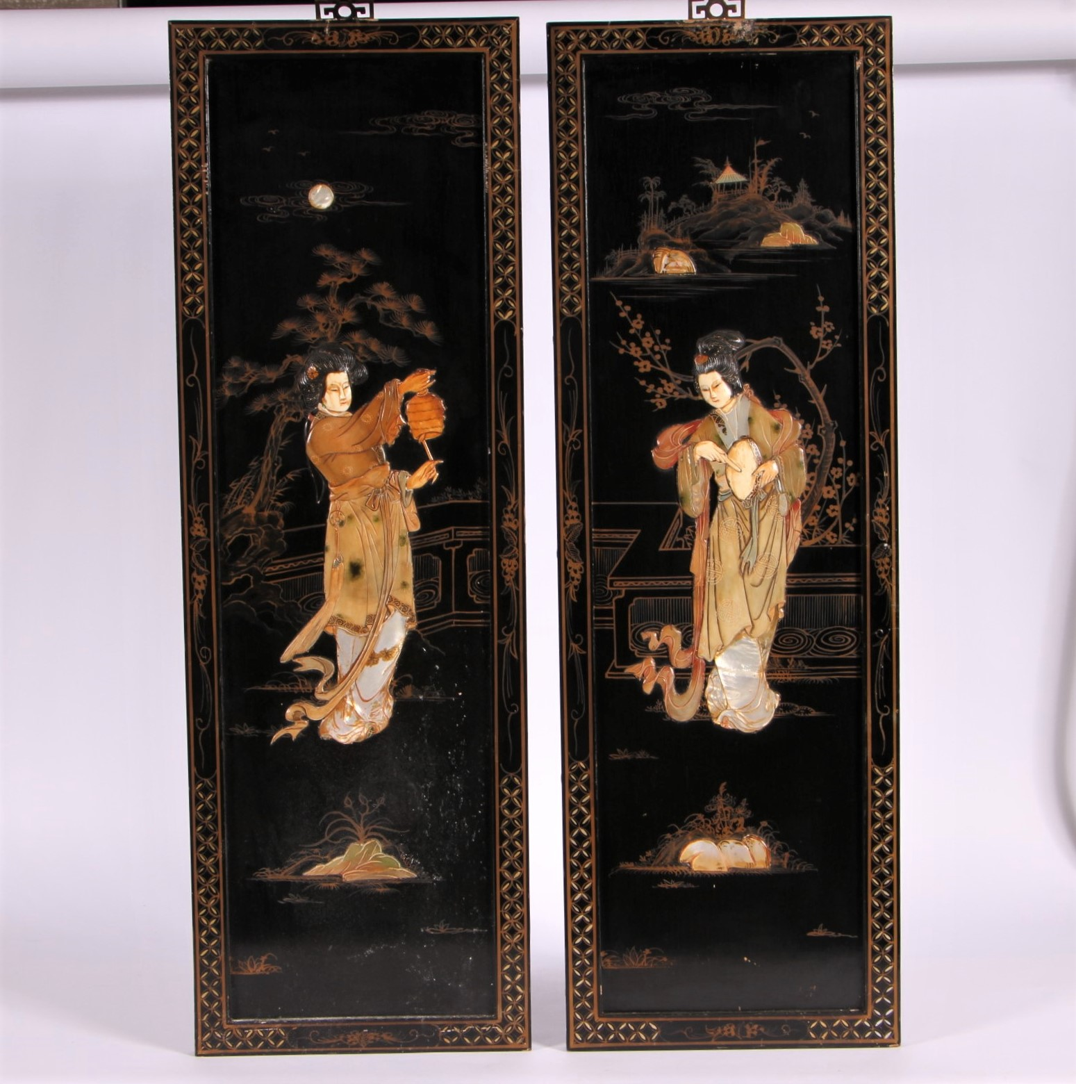 Pair of chinese inlaid lacquered wall plaques black rock for Brownstone liquidators