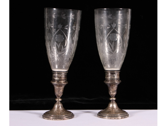 Two beautiful weighed silver candlesticks with etched for Brownstone liquidators