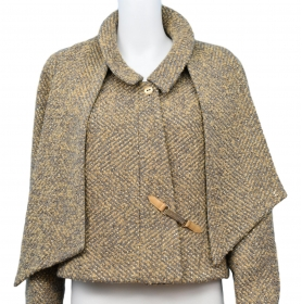 National Consignment Day - Tweed Metallic Gold Jacket With Matching Scarf | BRG