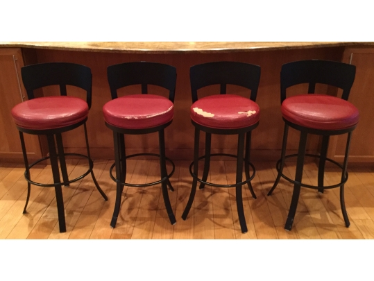 Revised Four Wrought Iron Swivel Counter Stools By