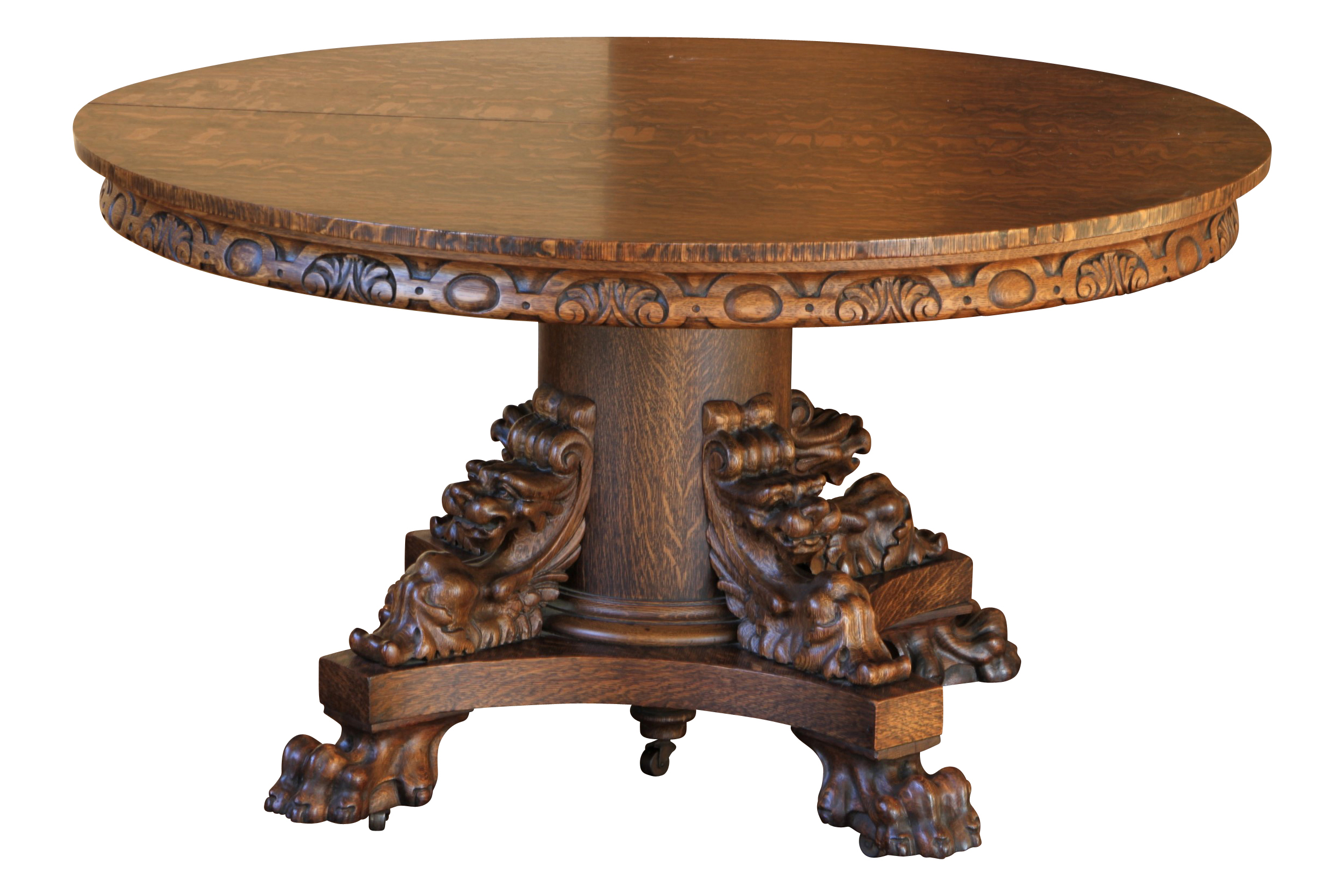 An American Quarter Sawn Oak Dining Room Table With