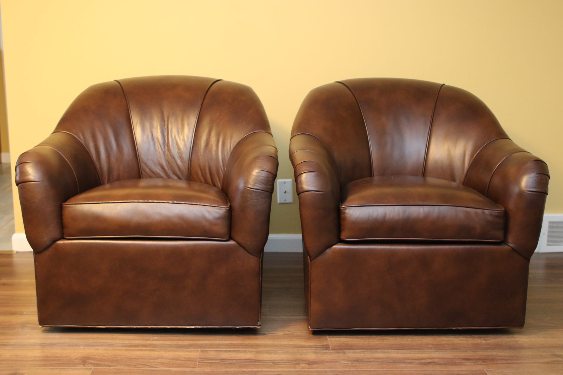 Pair Of Ethan Allen Swivel Leather Tub Chairs Black Rock