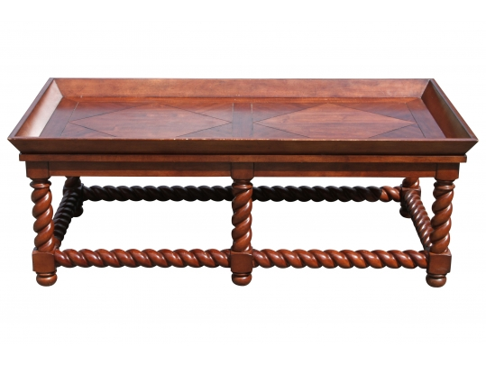 Stanley Bode De Pech Heavy Oak Tray Style Top Coffee Table With Barley Twist Legs And Stretchers Black Rock Galleries