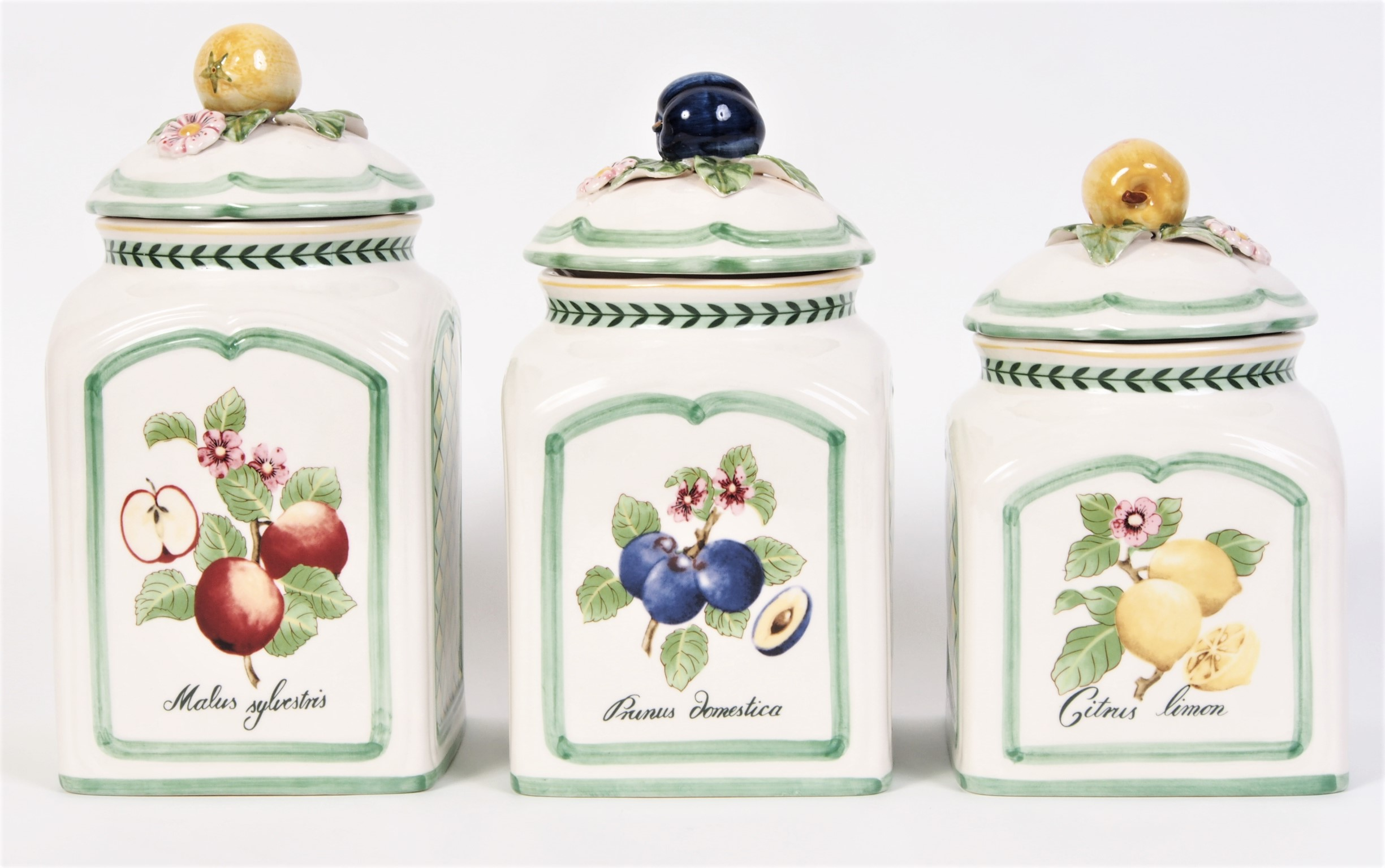 Set of 3 villeroy and boch french garden charm canisters for Villeroy and boch french garden