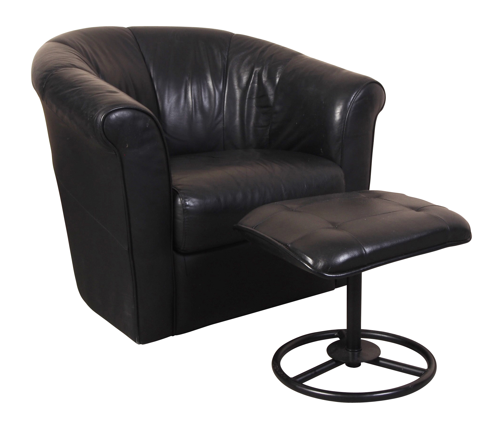 Italsofa black leather swivel tub chair with compatible for Leather swivel tub chair