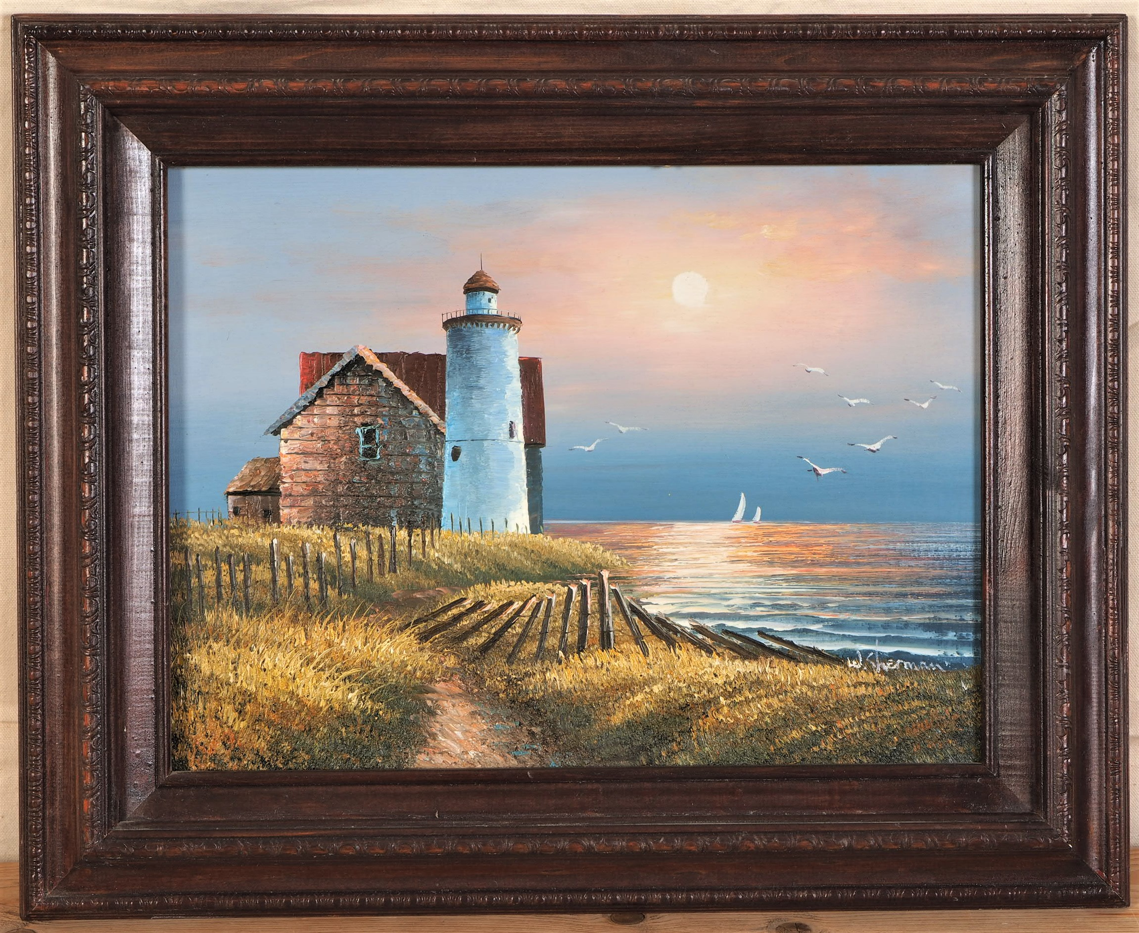 Oil On Canvas Lighthouse Sea Scape By W Sherman Framed