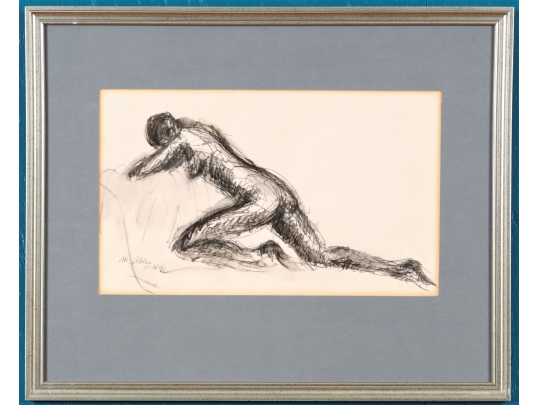 Framed watercolor and ink figural drawing by morton abler for Brownstone liquidators