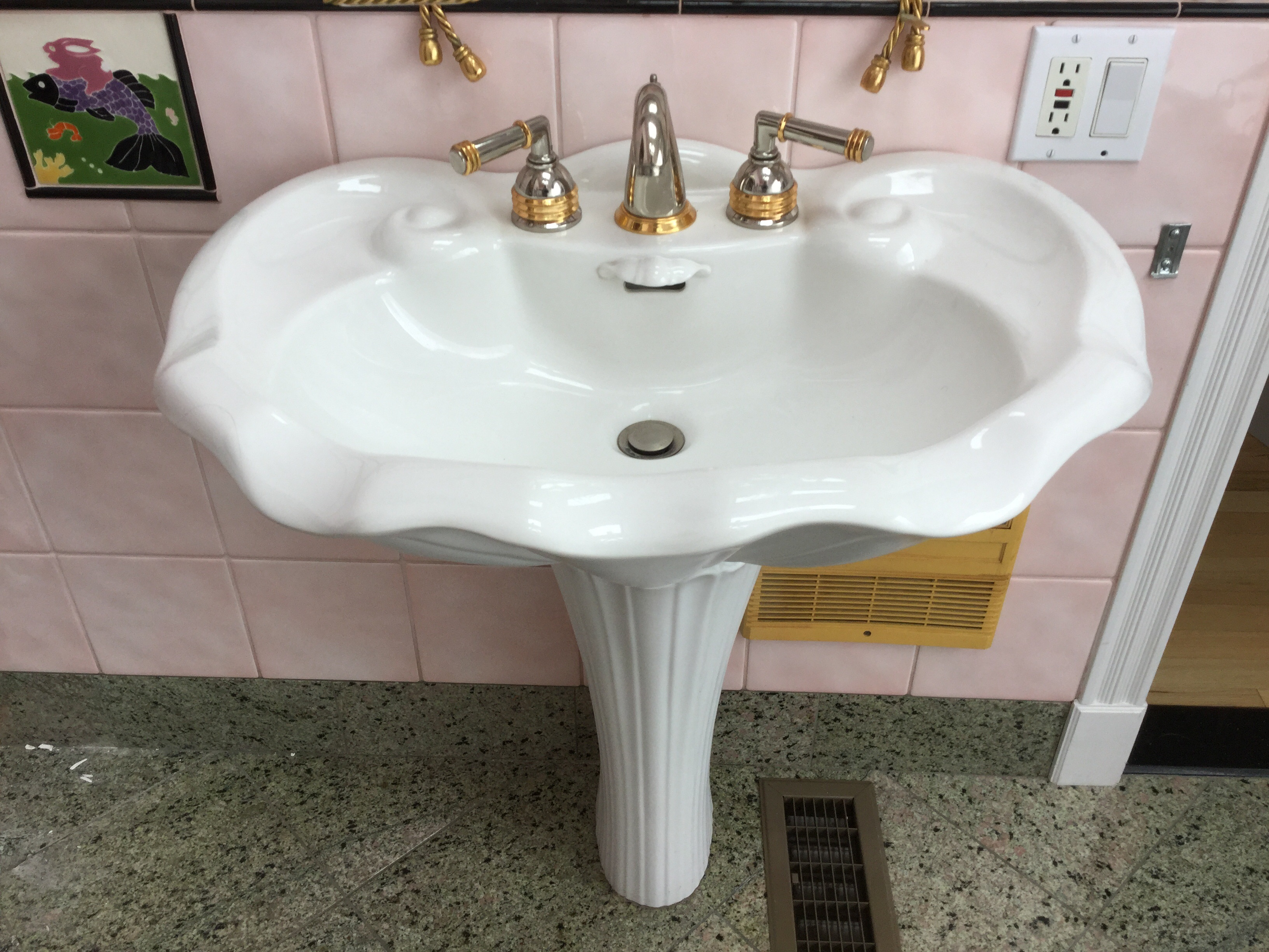 Pozzi-Ginori Pedestal Sink With Scalloped Shell Motif, As-is (FRIDAY ...