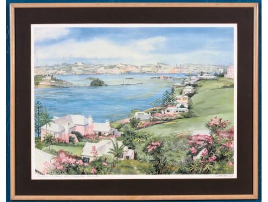 Framed signed lithographic print by carole holding for Brownstone liquidators