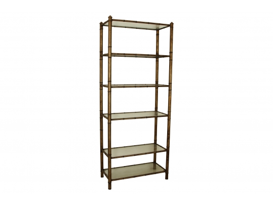 Etagere With Bamboo Form Metal Frame And Six Glass Shelves #33421   Black Rock Galleries