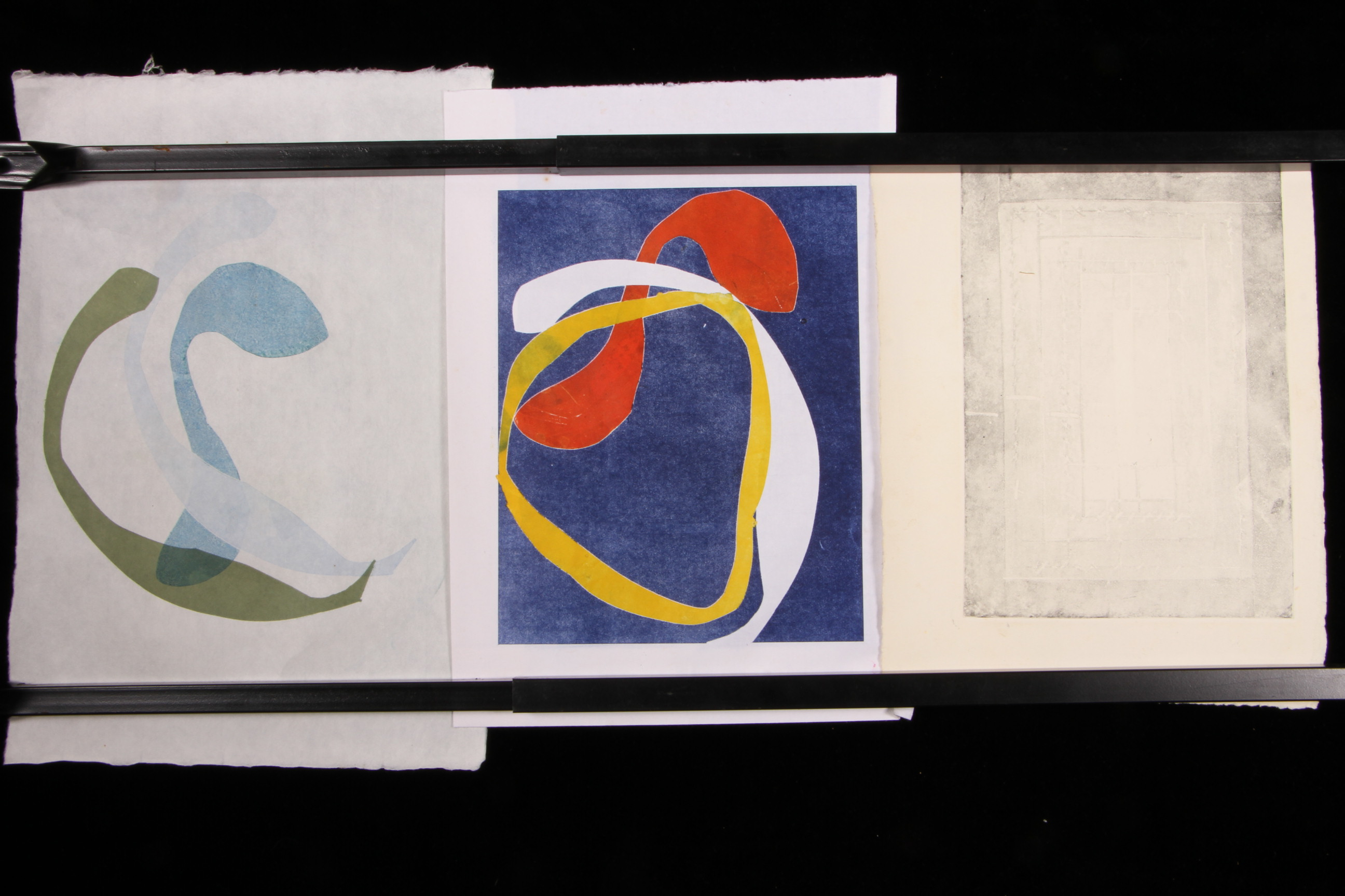 Three mid century original abstract prints unsigned for Brownstone liquidators