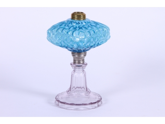 Glass Lamp Bases South Africa: Aqua Depression Glass Oil Lamp With Clear Base