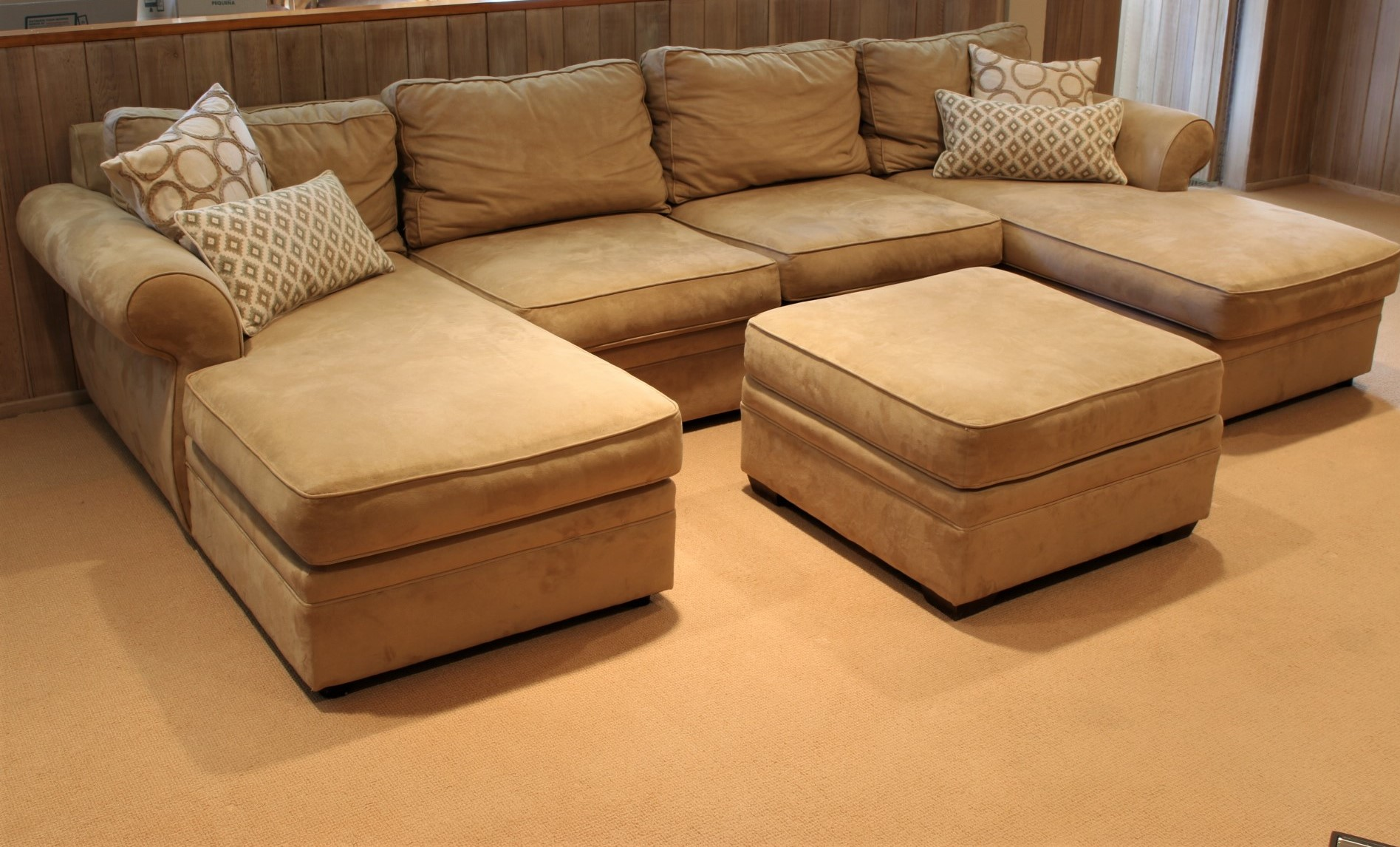 Pottery Barn Sutter Street Double Chaise Sectional Plus Ottoman