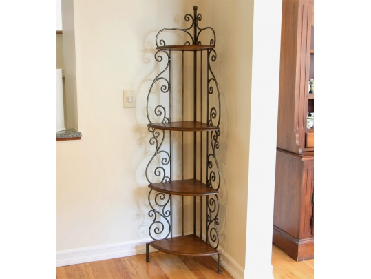 Dimunitive Wrought Iron Corner Shelf With Dark Stained