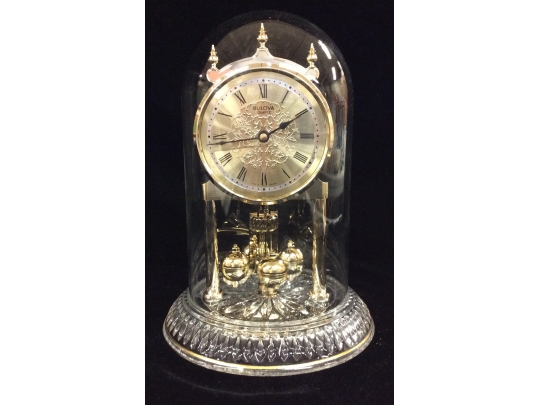 Bulova Anniversary Clock With Glass Dome And Crystal Base