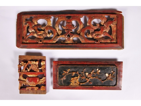 Lacquer and gilt decorated wood carvings black rock for Brownstone liquidators