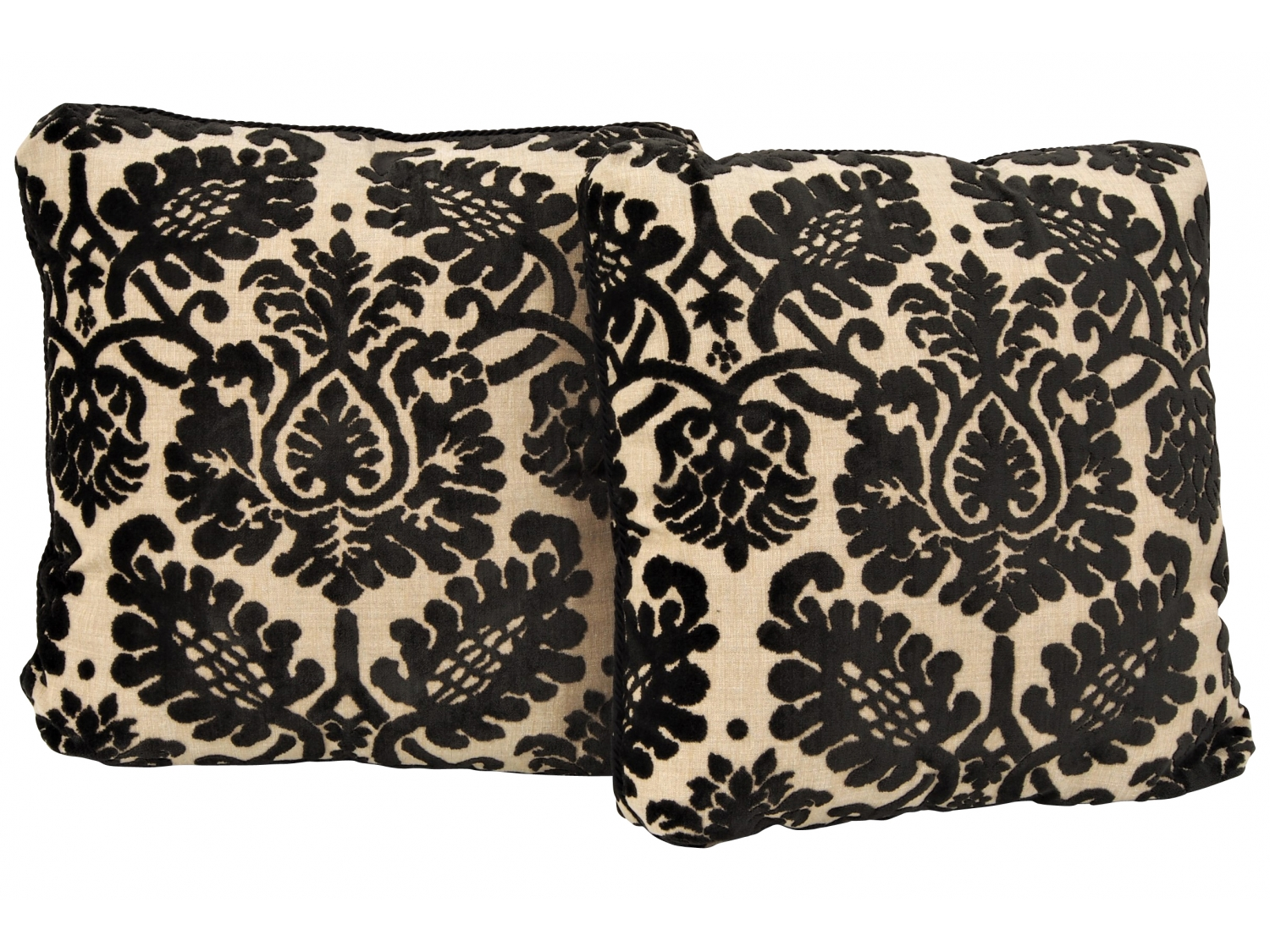 Pair Of Linen And Velvet Damask Custom Throw Pillows Black Rock Galleries