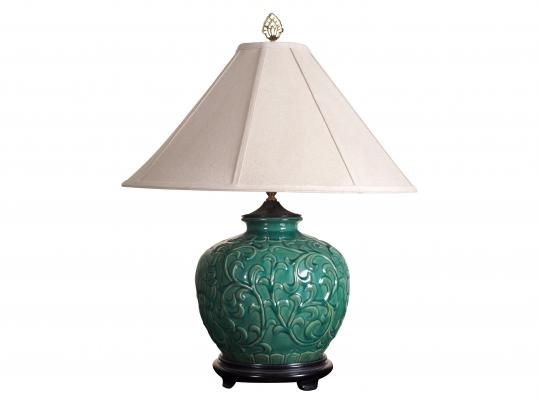 Salt Rock Lamp Green Earth : Green Salt Glazed Embossed Lamp Black Rock Galleries