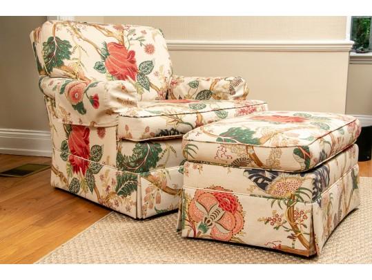Sherrill Custom Upholstered In Brunschwig Fils Club Chair