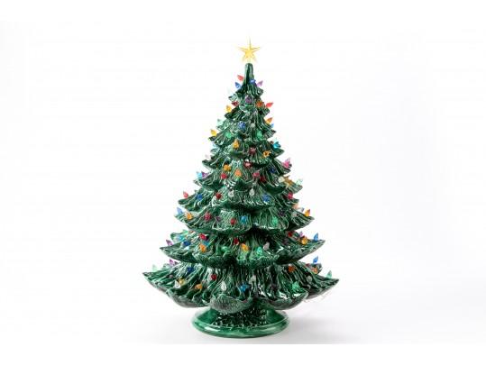 Large 23 1 2 Vintage Electrified Ceramic Christmas Tree With Base