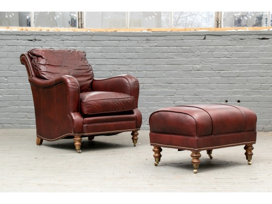 Terrific Beautiful Wesley Hall Hickory N C Leather Chair And Ottoman Uwap Interior Chair Design Uwaporg