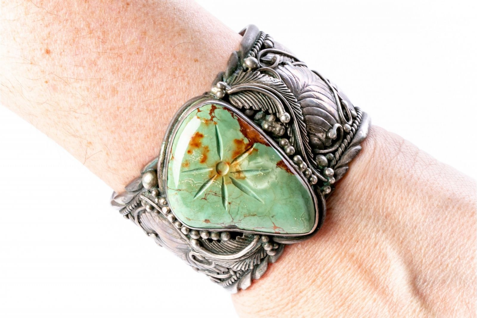 Navajo Cuff with Sterling Silver, Green Turquoise & Signature Leaves and Beads