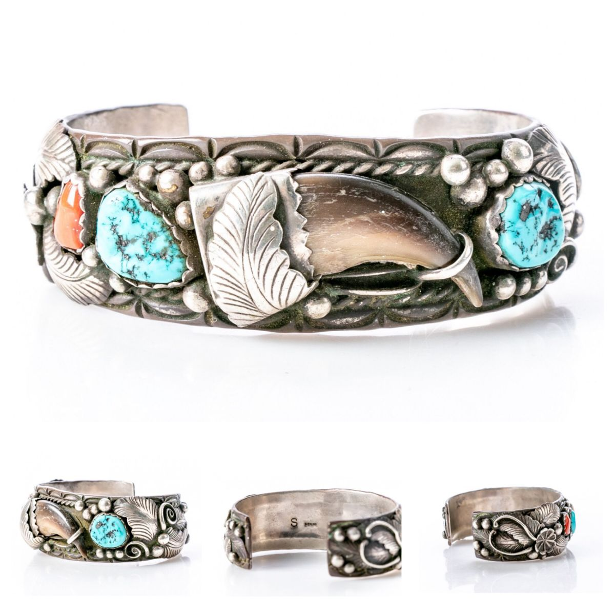 Navajo Cuff Bracelet with Turquoise, Coral, & Bear Claw