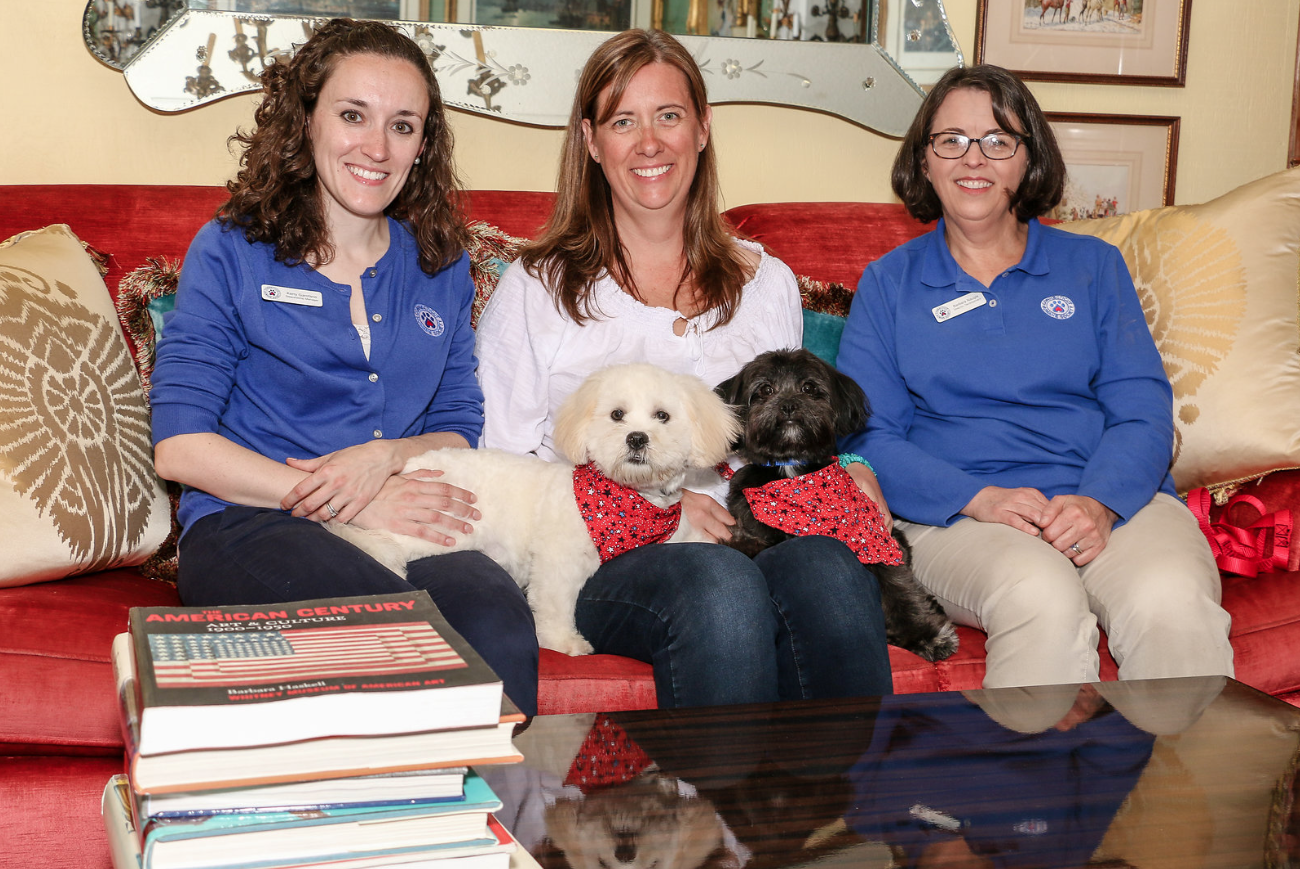 CT Humane Society Volunteers, Kerry Garofano & Barb Naugle join BRG Managing Partner, Christie Spooner with two rescue puppies, Javier & Henry