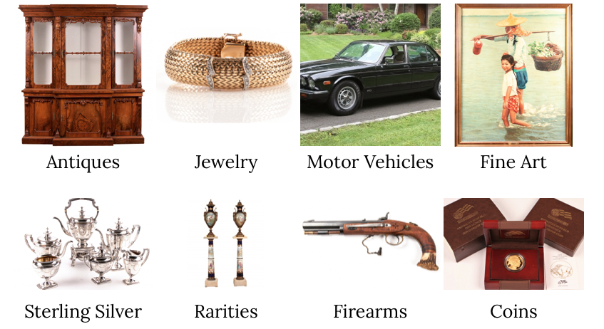 BRG appraises Antiques, Jewelry, Motor Vehicles, Fine Art, Sterling Silver, Rarities, Firearms, Coins, and more.