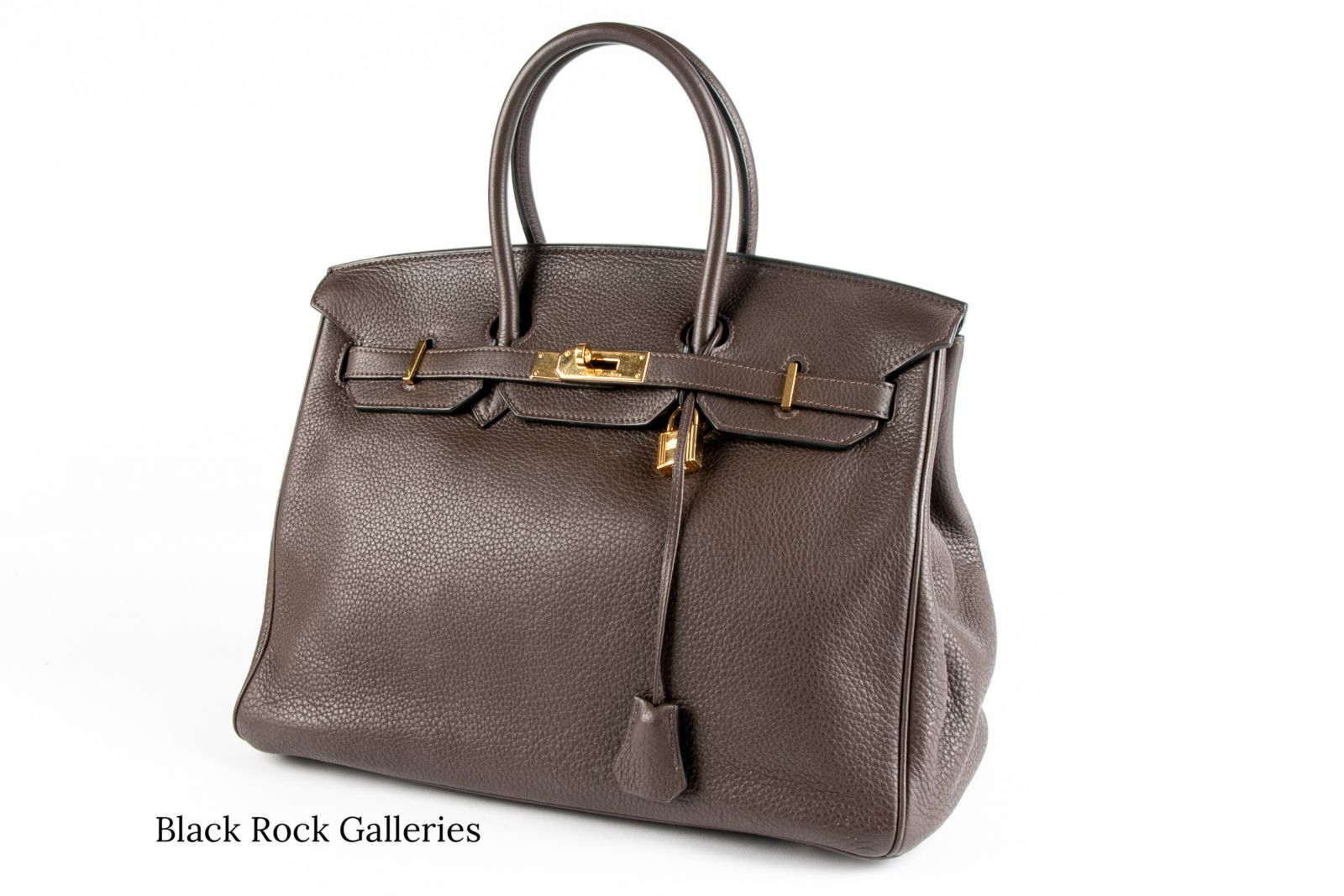 Chocolate Brown Hermes Birkin Bag with Gold-tone accents