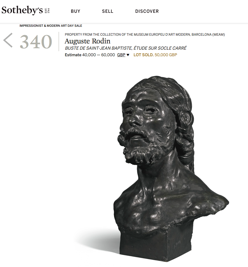 Sotheby's Price Realized for 2016 sale of Buste de Saint Jean Baptiste