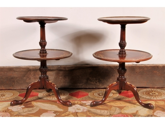 Pair of dumbwaiters with spinning tops black rock galleries for Brownstone liquidators