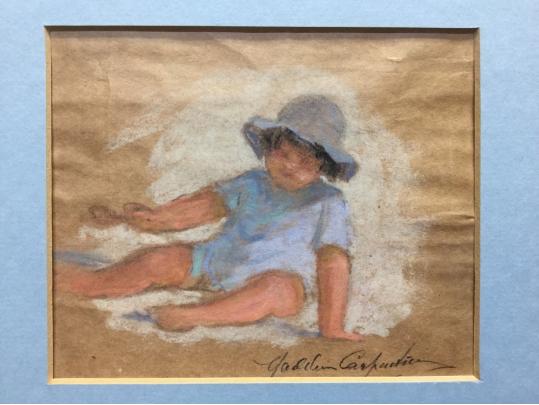 Signed pastel study of a child on paper unfamed black for Brownstone liquidators