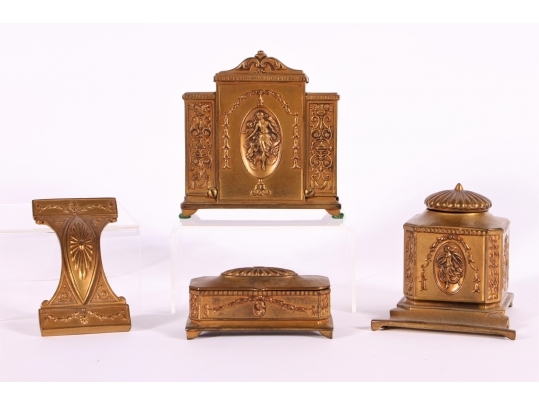 Jennings brothers edwardian art nouveau antique desk set for Brownstone liquidators