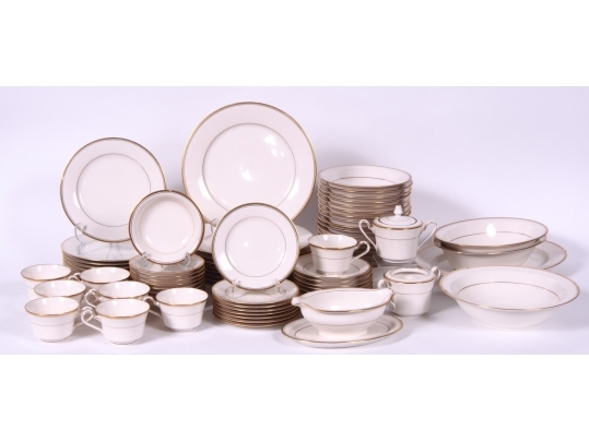 Large set of noritake ivory china service for 8 black for Brownstone liquidators