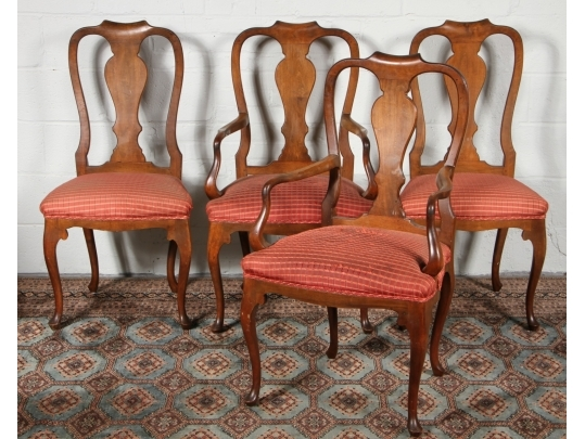 Set of four walnut upholstered chairs black rock galleries for Brownstone liquidators