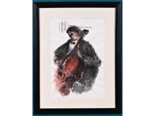 Framed watercolor illustration the lincoln center for the for Brownstone liquidators