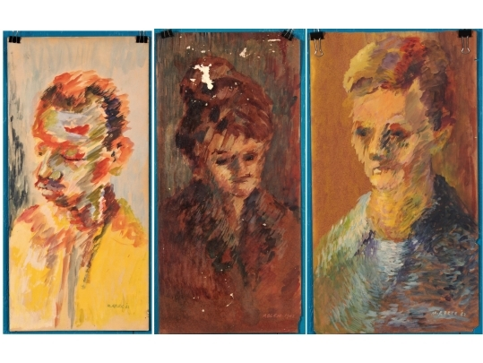 3 portrait paintings by morton abler 1918 2009 unframed for Brownstone liquidators