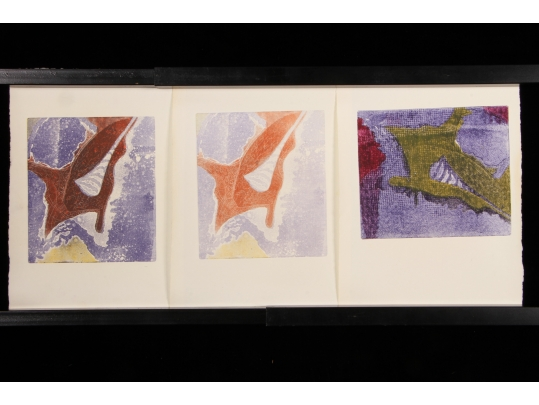 Three mid century abstract aquatint prints on paper for Brownstone liquidators