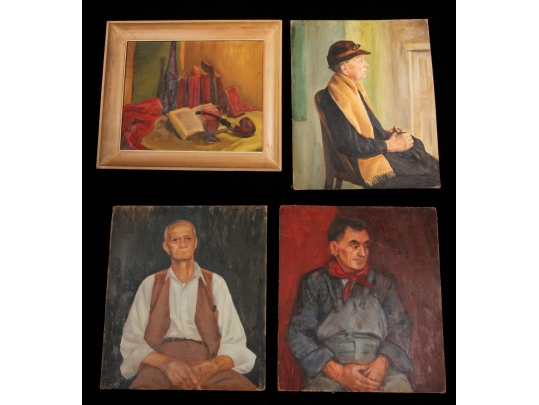Collection of four original oil paintings by r miller for Brownstone liquidators