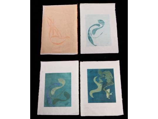 Four larger mid century unsigned original prints unframed for Brownstone liquidators