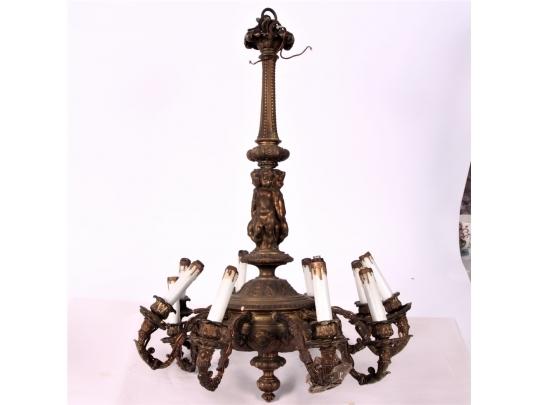 Heavy bronze figural chandelier restoration project for Brownstone liquidators