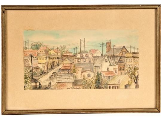 A vintage framed watercolor by rose g kadishevitz black for Brownstone liquidators