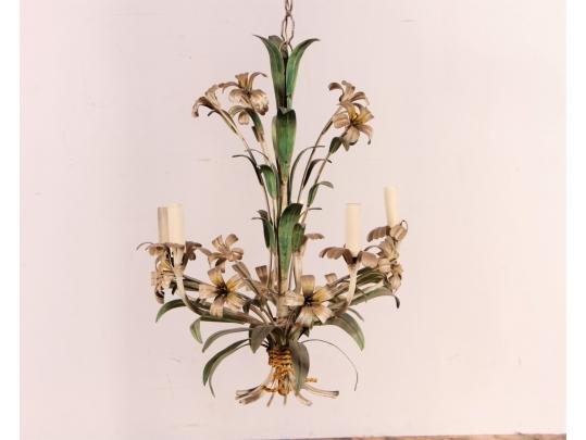Floral and foliate toleware chandelier black rock galleries for Brownstone liquidators