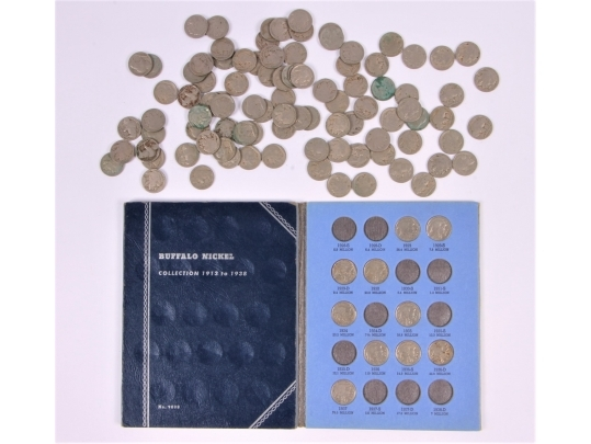 Buffalo head nickels in coin album and loose coins 108 for Brownstone liquidators