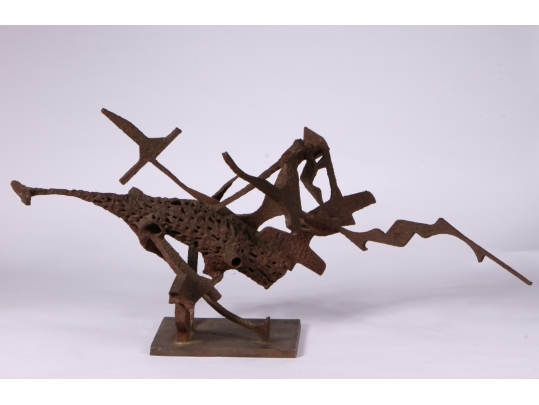Mid century modern abstract steel sculpture 2 black for Brownstone liquidators
