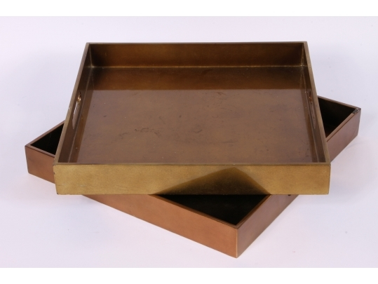 Two square metallic copper laminate trays black rock for Brownstone liquidators