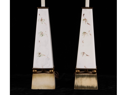 Pair of obelisk form table lamps with gilt decoration for Brownstone liquidators