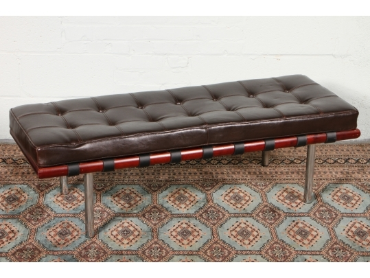 Chrome and wood based bench with tufted leather cushion for Brownstone liquidators